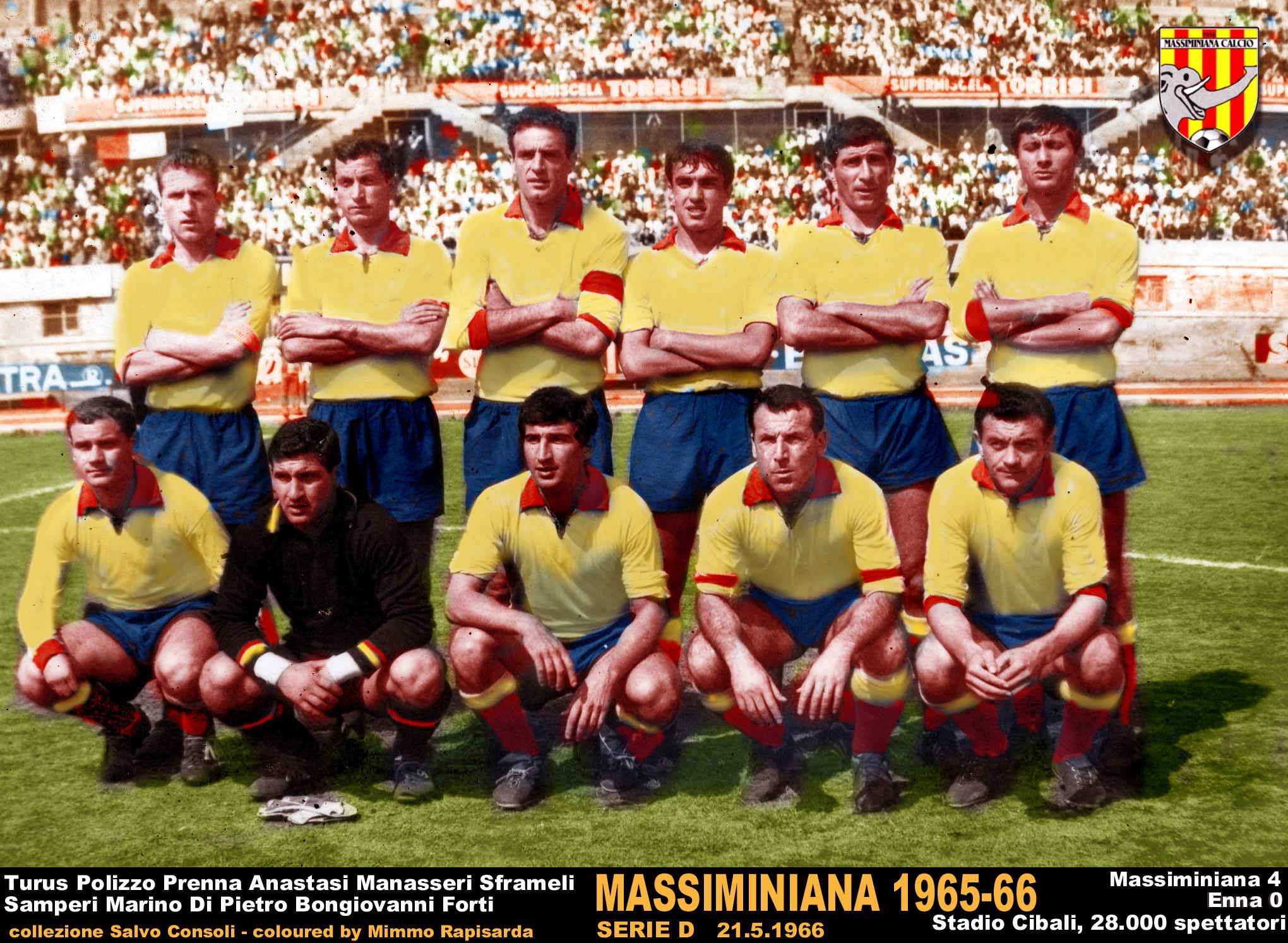 FIGURINA    CALCIATORI   MIRA  1965-66    BRESCIA   MAESTRI   MAI   ATTACCATA